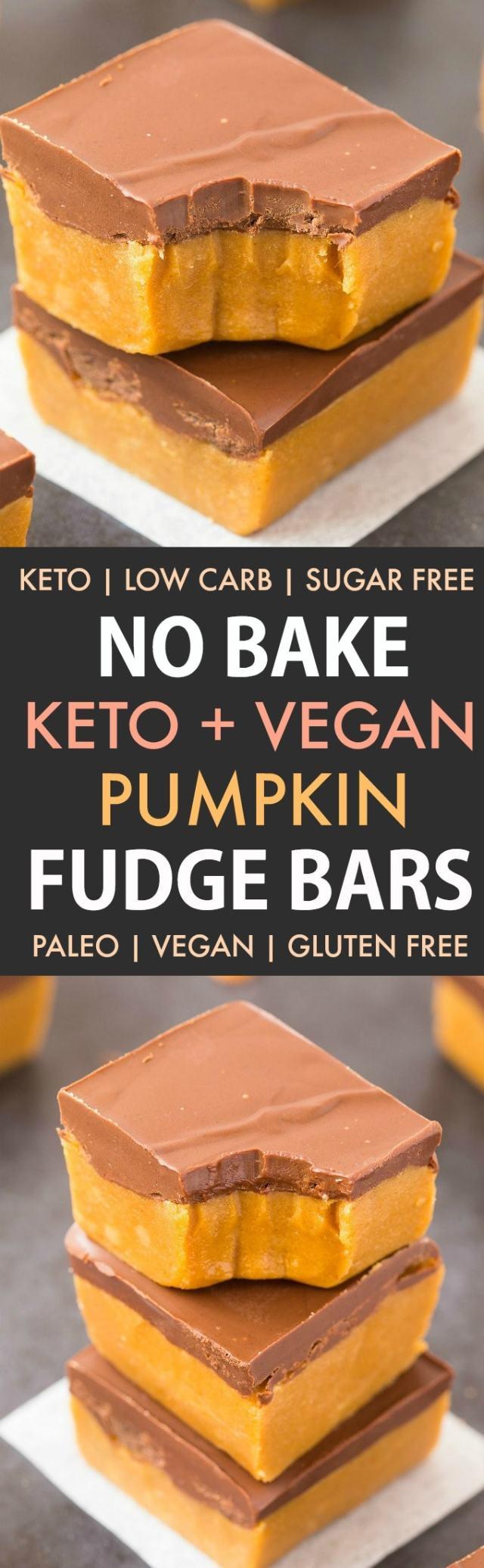 Healthy No Bake Pumpkin Fudge Bars in a collage