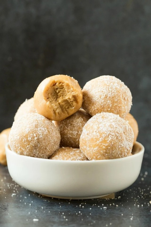 Healthy No Bake Salted Caramel Protein Bliss Balls in a white bowl
