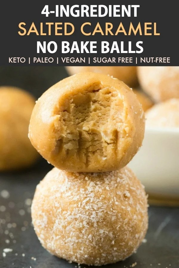 Healthy No Bake Salted Caramel Protein Bliss Balls
