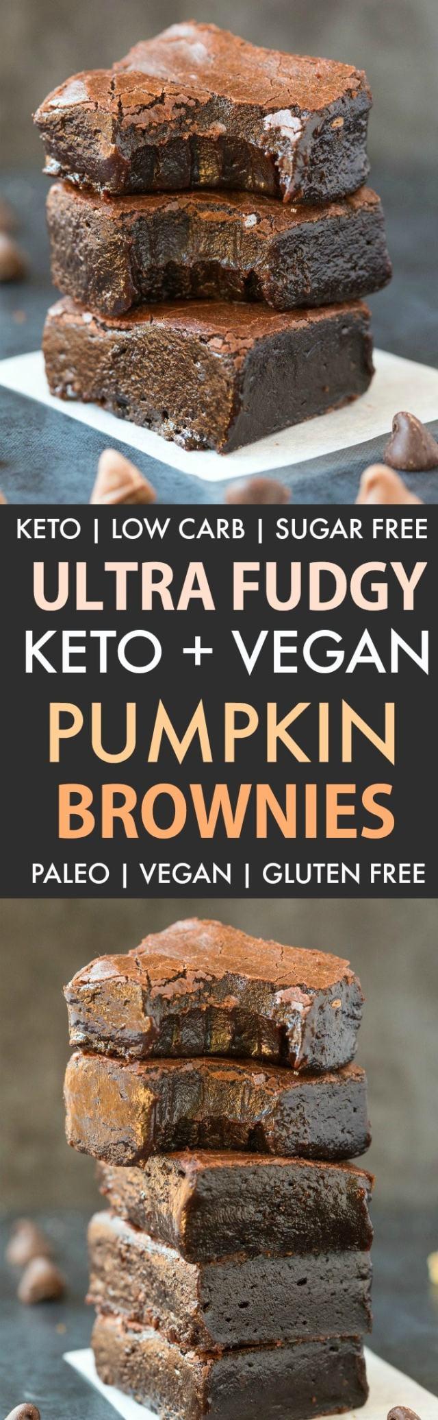 Fudgy Keto Vegan Pumpkin Brownies