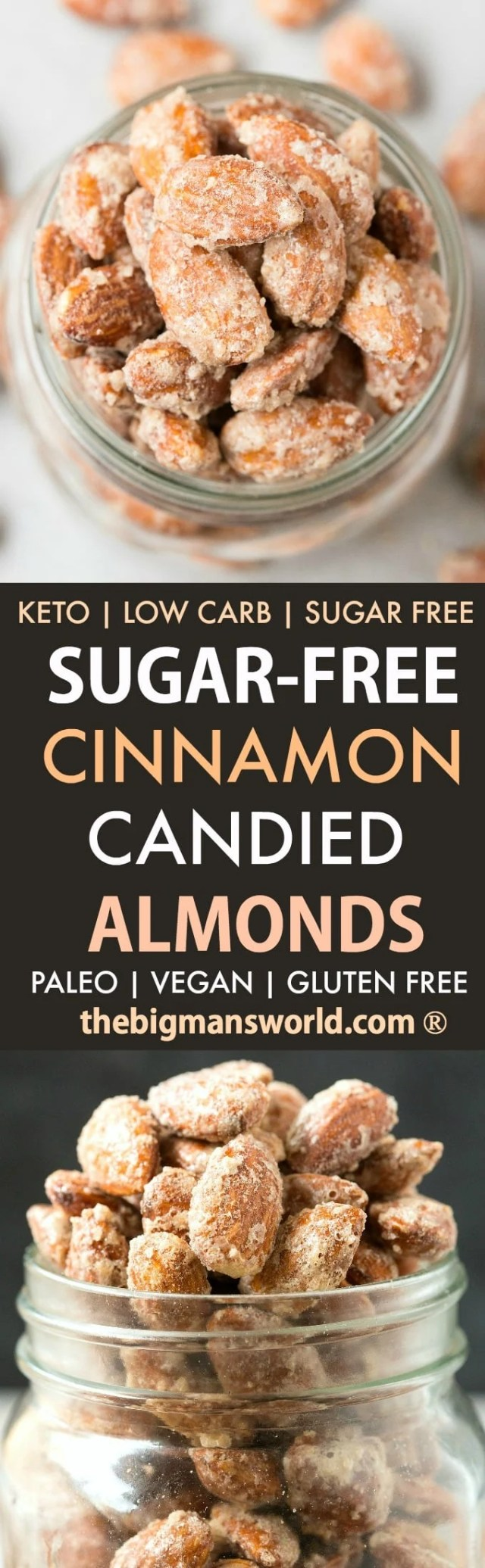 A collage of sugar free candied almonds made in a skillet