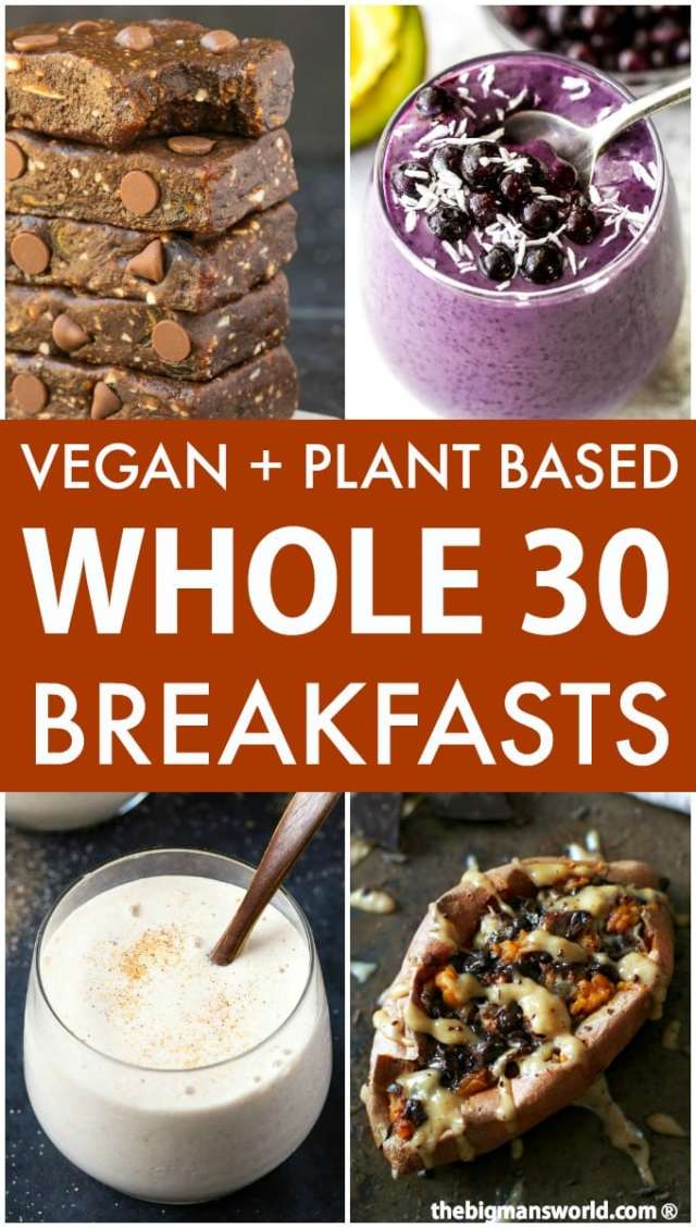 A collage of 4 images of breakfast ideas for the whole30 diet- a mixed berry smoothie, brownie larabars, banana smoothie and stuffed sweet potatoes