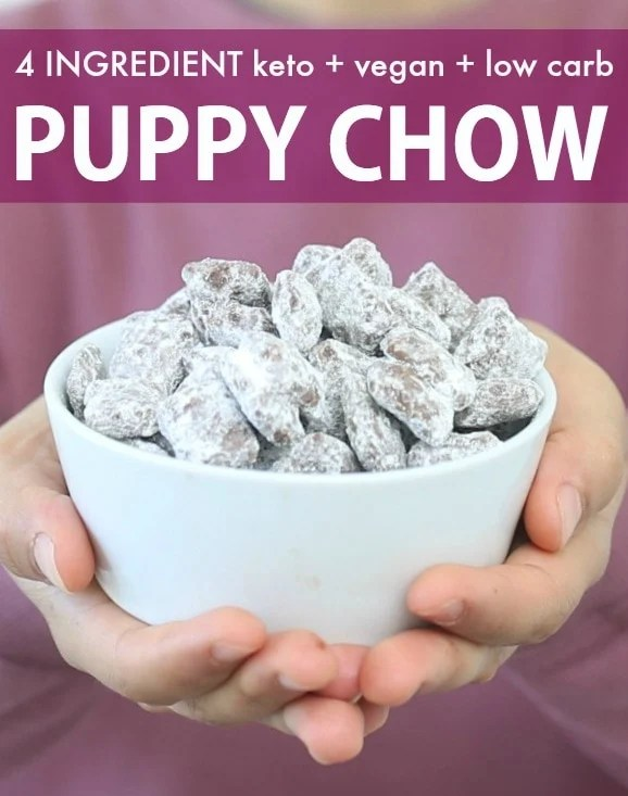A bowl of healthy homemade low carb puppy chow!