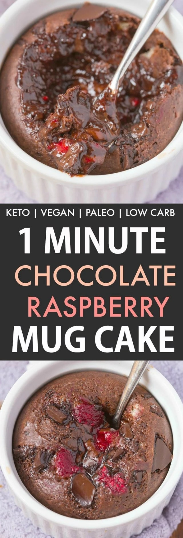 A single serve keto chocolate raspberry mug cake loaded with raspberries and chocolate chunks.
