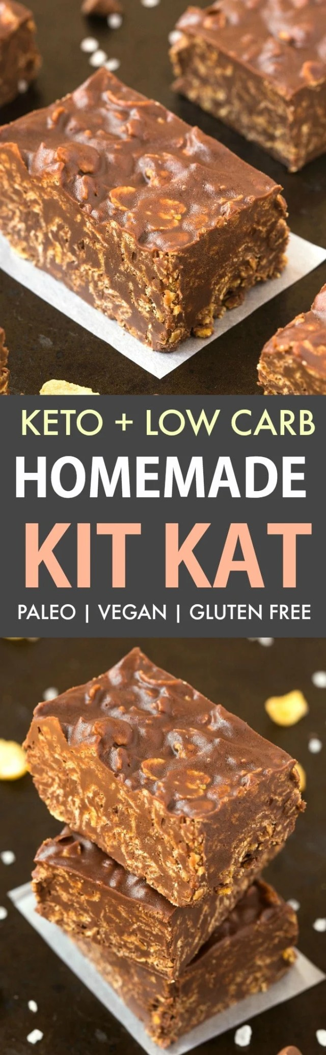 A collage of homemade keto kit kat bars- Chocolate bars loaded with crispy cereal, nuts and seeds