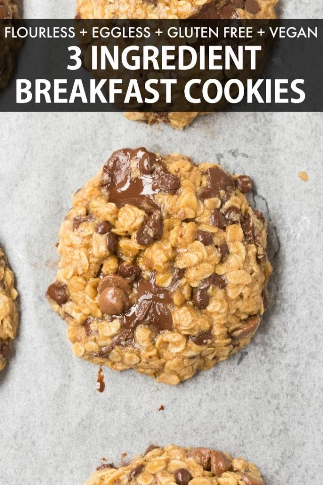 3 Ingredient Banana Oatmeal Cookies with chocolate chips