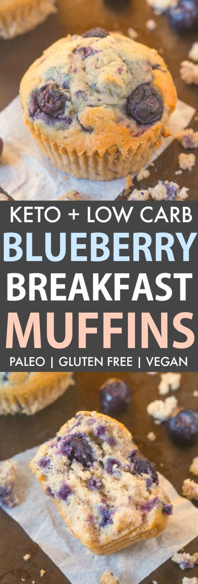 Keto and Low Carb Blueberry Muffins loaded with blueberries