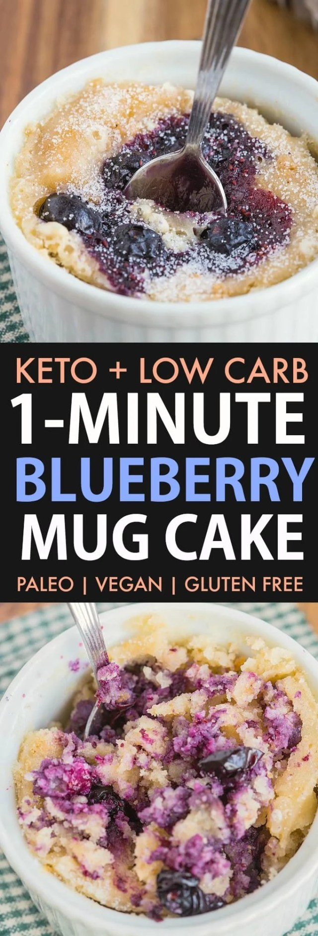 Blueberry muffin mug cake loaded with blueberries