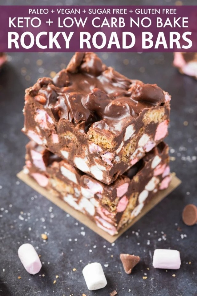 Keto rocky road bars loaded with marshmallows and cookies