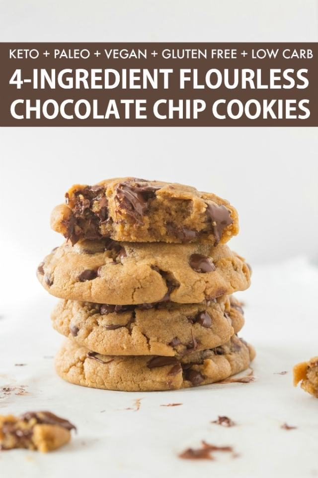 A stack of keto flourless chocolate chip cookies