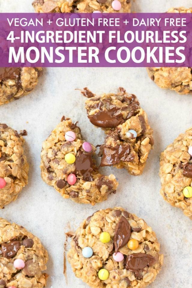 Healthy Flourless Monster Cookies