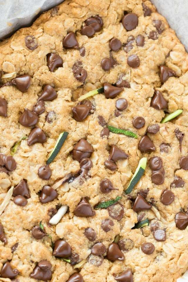 Zucchini Oatmeal Breakfast Bars with chocolate chips are a vegan and gluten free dessert healthy enough to eat for breakfast!