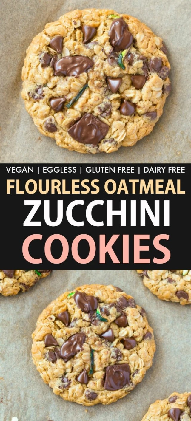 Healthy Zucchini Oatmeal Breakfast Cookies loaded with shredded zucchini and chocolate chips! The perfect vegan and gluten free dessert!