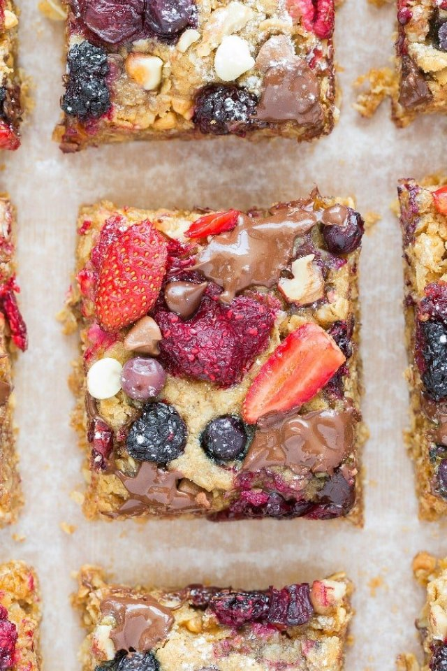 Easy healthy soft baked breakfast bake loaded with strawberries, blueberries and more!