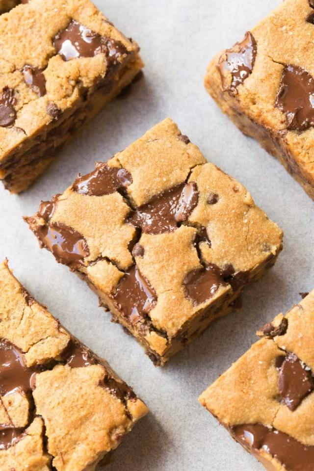 Easy homemade chocolate chip cookie bars made eggless, keto and low carb!