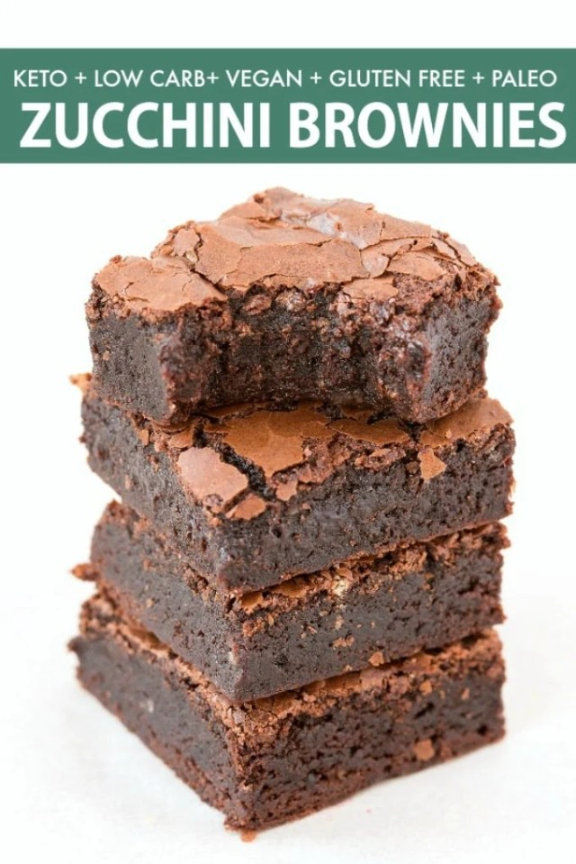 Healthy Keto Zucchini Chocolate Brownies made without eggs and without dairy!