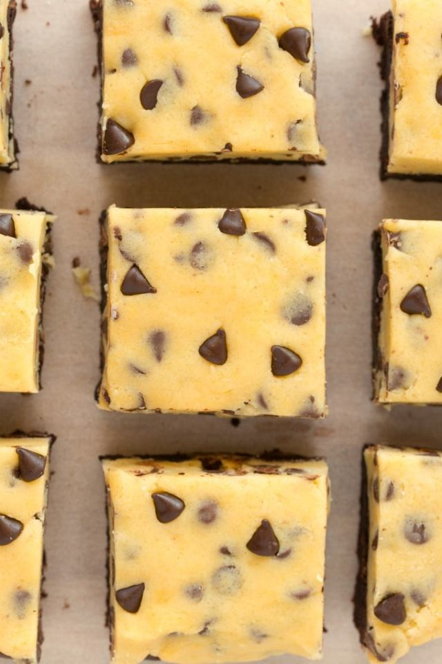 eggless cookie dough on top of flourless brownies.