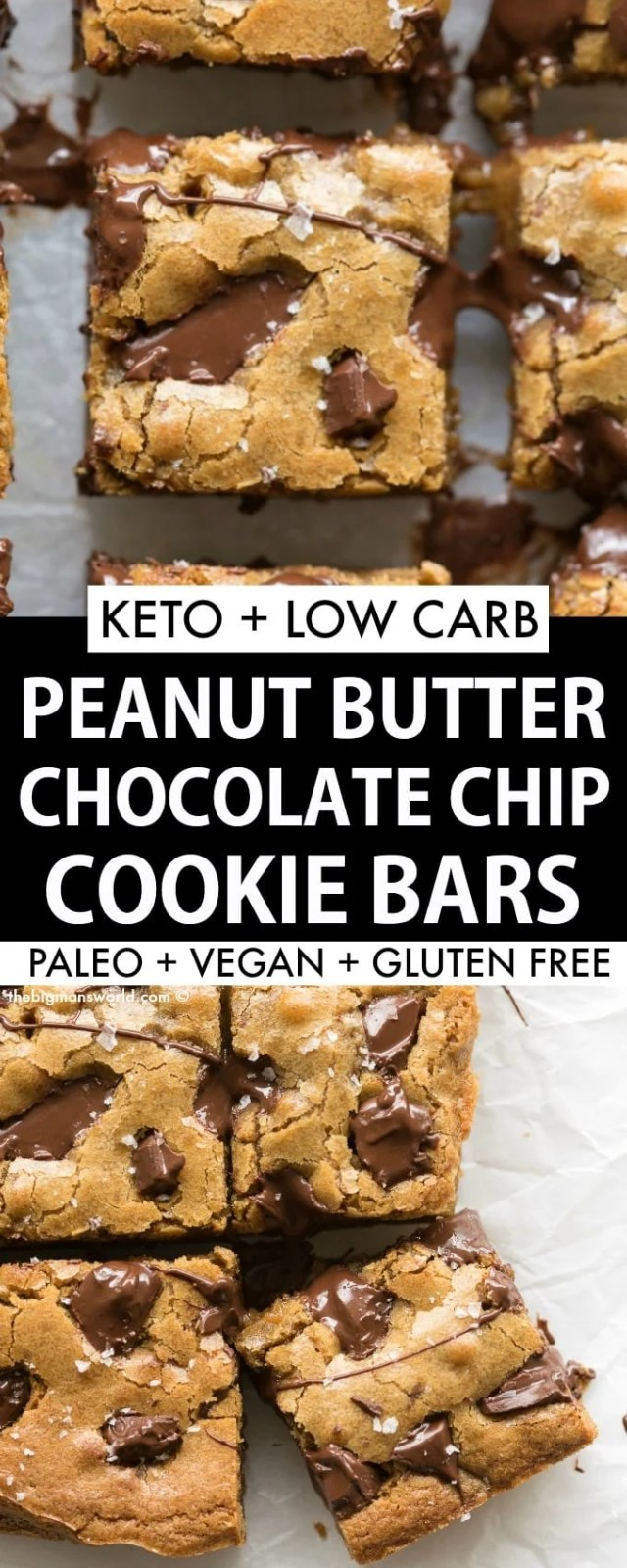 Peanut Butter Chocolate Chip Cookie Bars that are keto, vegan, paleo and gluten free.