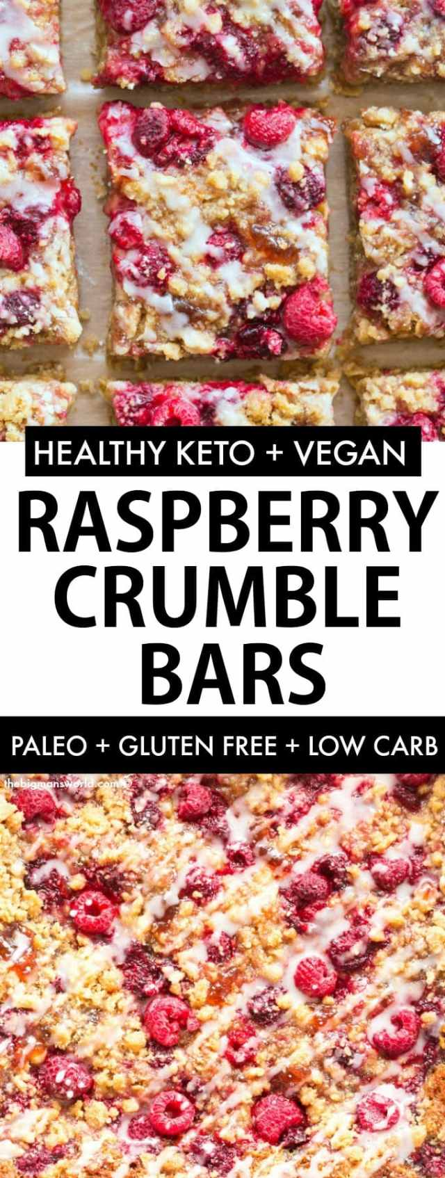 Raspberry Crumble bars with fresh raspberries is an easy low carb, keto and paleo recipe that is naturally vegan and gluten free.
