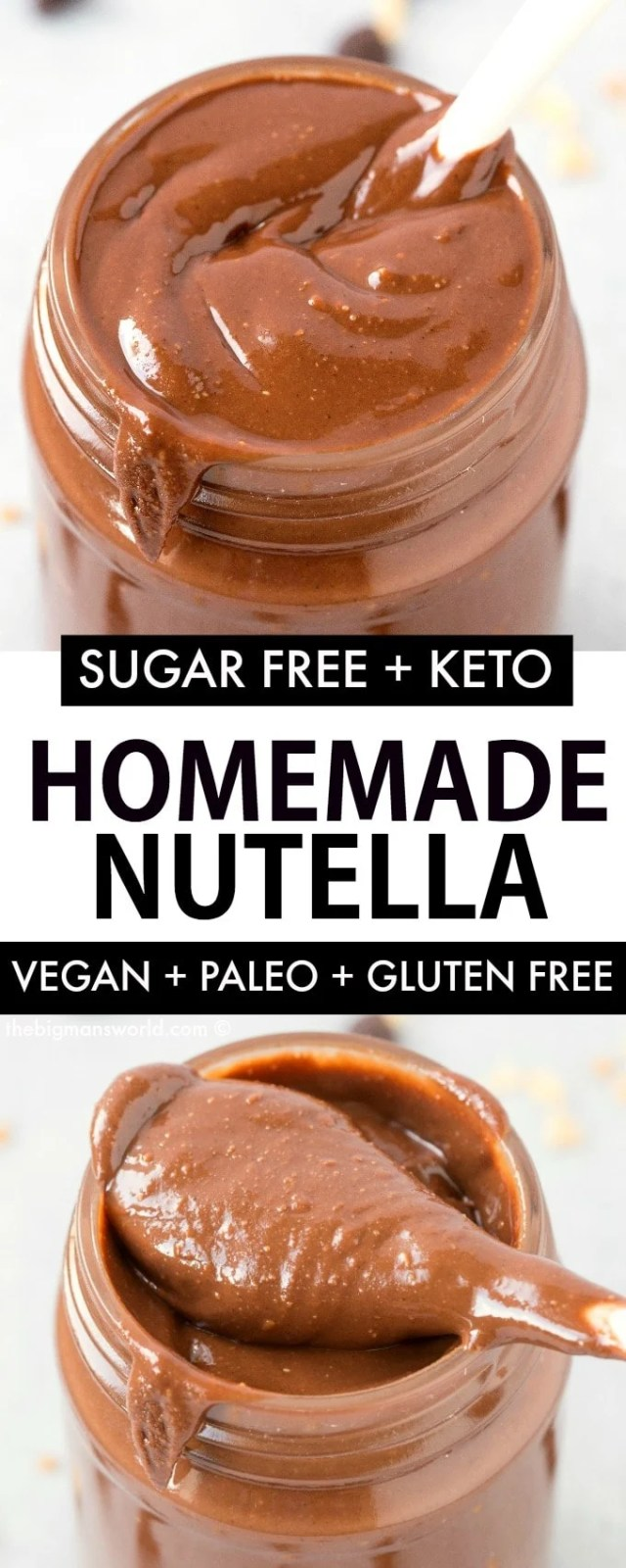 Easy homemade healthy nutella recipe, made with cocoa powder and hazelnuts!