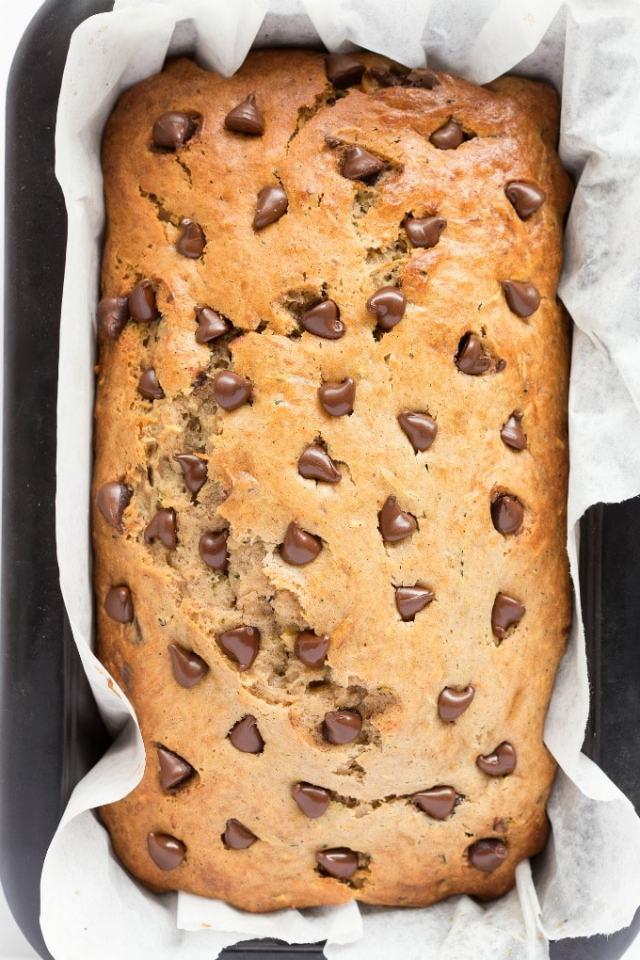 Zucchini banana bread with chocolate chips- Vegan, gluten free and paleo.