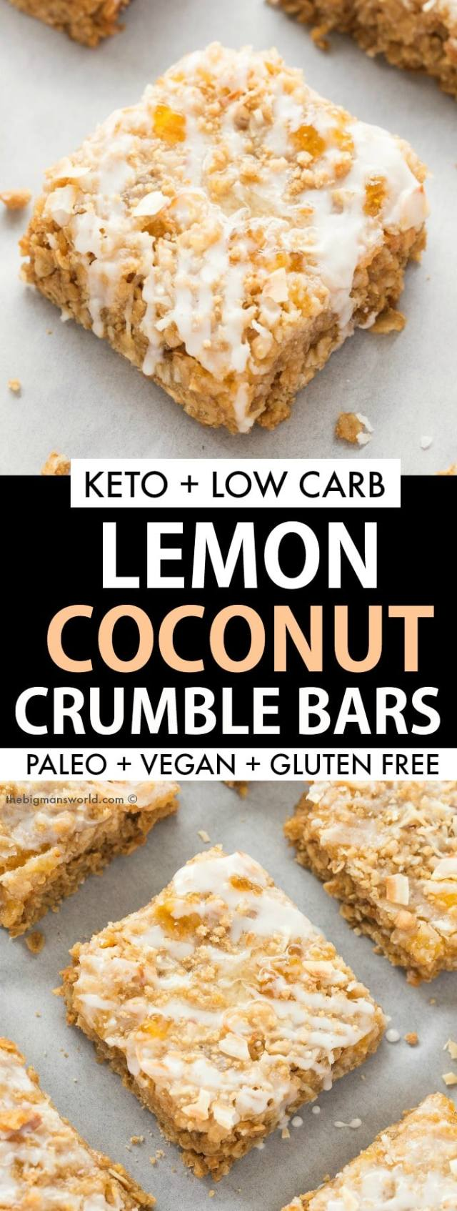 Keto Lemon Coconut Bars Recipe- Paleo and vegan friendly!