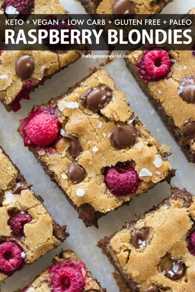 Easy raspberry cookie blondie bars recipe