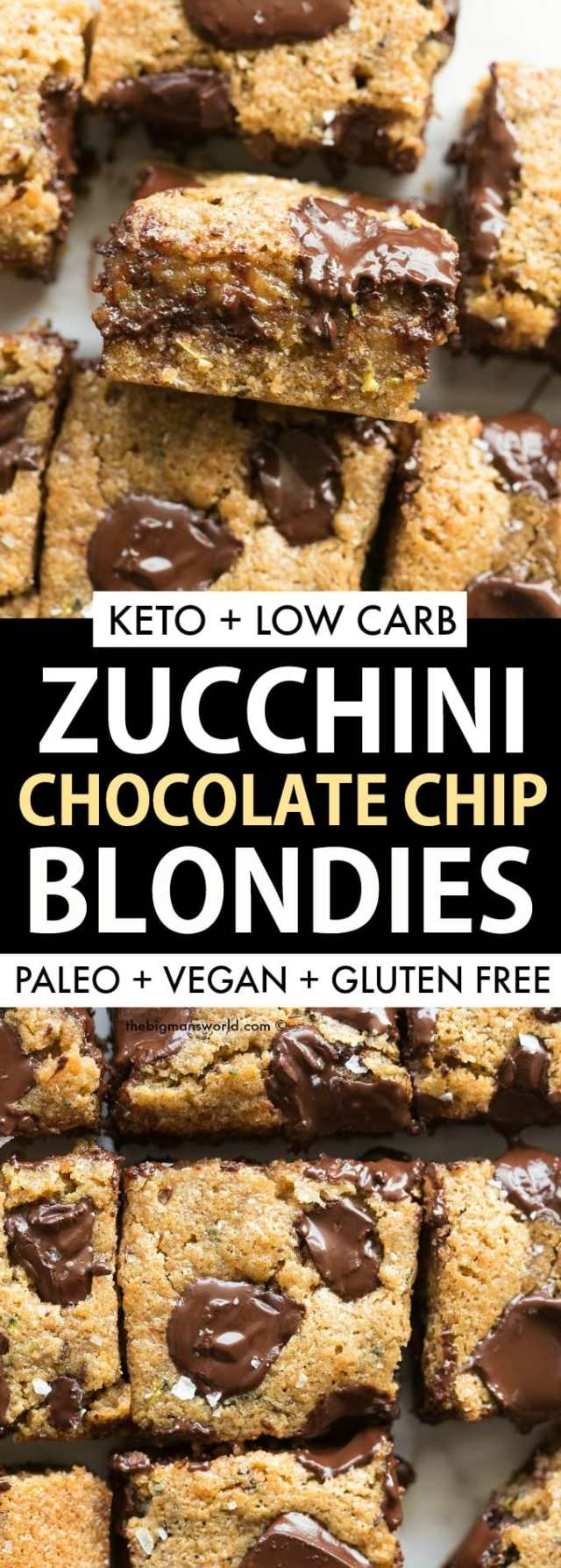 Healthy Zucchini Almond Butter Blondies recipe made keto, vegan and paleo.
