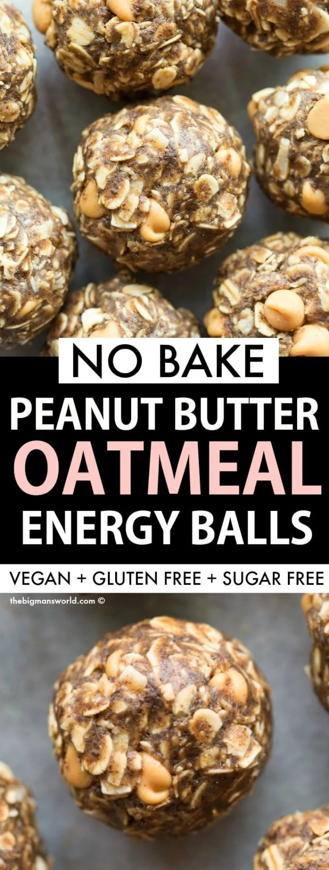Healthy No Bake Energy Balls recipe with peanut butter, maple syrup and oatmeal!