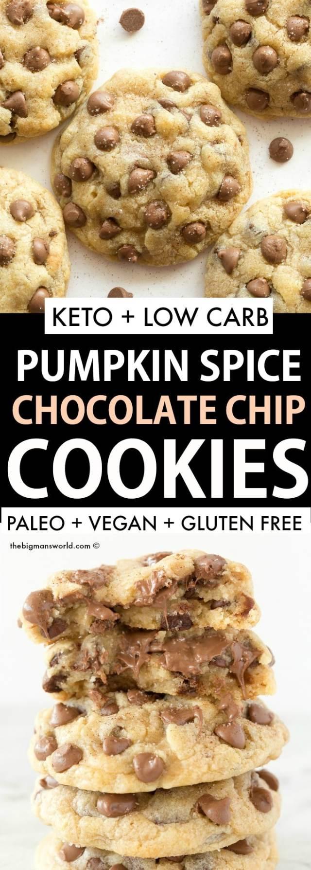 Keto Vegan Pumpkin Spice Chocolate Chip Cookies Recipe