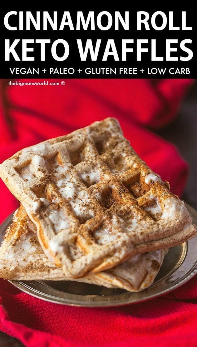 Fluffy crispy keto cinnamon roll waffles recipe