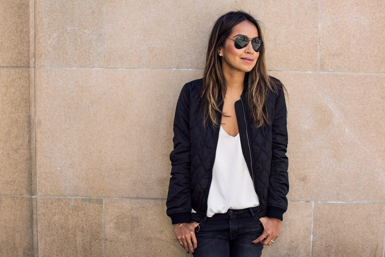 fashion blogger sincerely jules bomber jacket