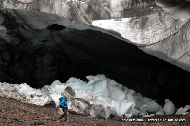 Karyn Simmons explores glacial ice caves near the Laugavegur Trail.