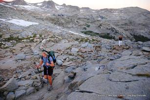 Todd Arndt reaching Donohue Pass, JMT, Yosemite.