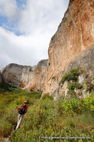 Trekking below Pina Roc, Aitana Mountains.