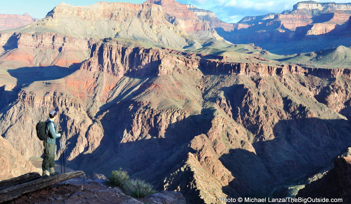 A hiker on the Grand Canyon's South Kaibab Trail.