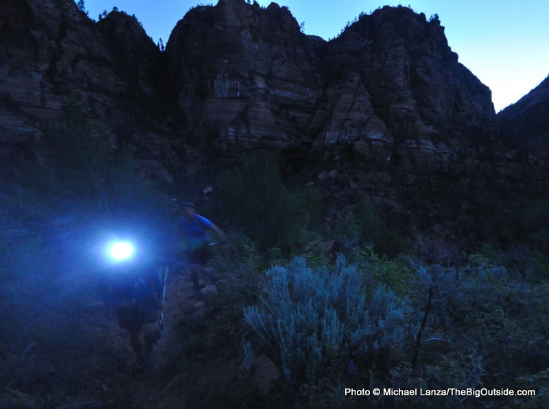 Hikers in early morning hiking through the Hop Valley in Zion National Park.