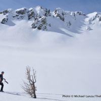 Ski touring to Clipper Gap in Norway Basin, Wallowa Mountains, Oregon.