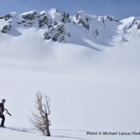 Ski touring to Clipper Gap in Norway Basin, Wallowa Mountains, Oregon.
