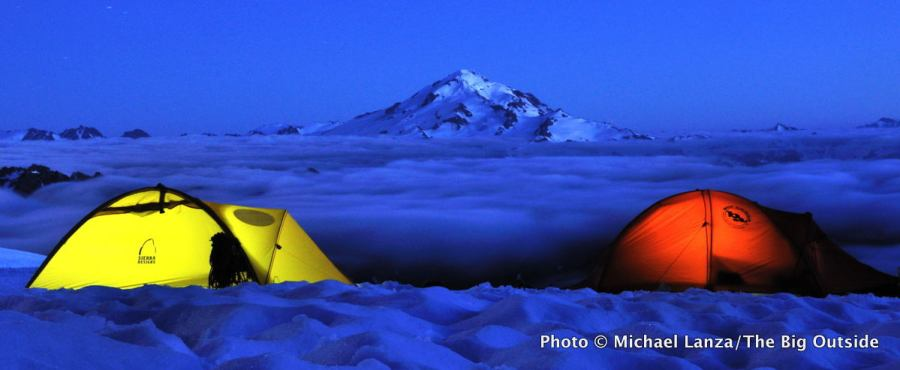A campsite on the Dome Glacier in the Glacier Peak Wilderness.