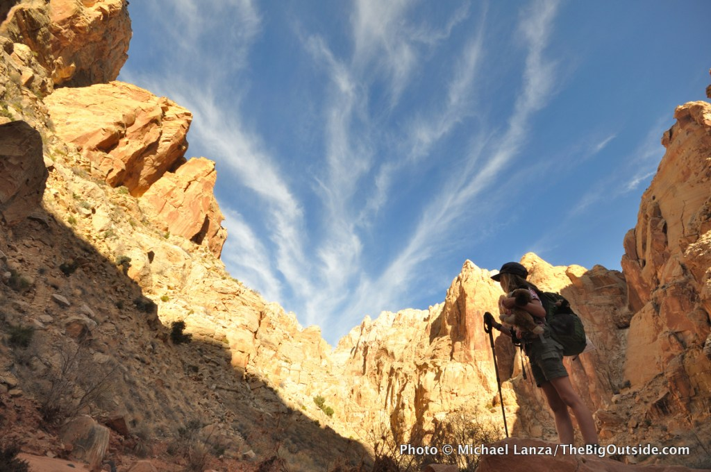 A young girl hiking in Spring Canyon, Capitol Reef National Park, Utah.
