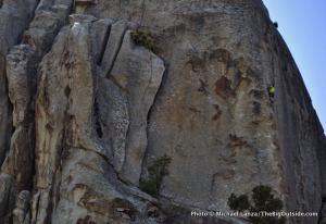 Climber on Mantle Dynamics, Castle Rocks.