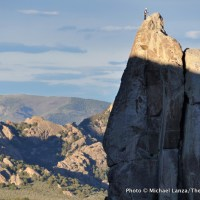 Climbers on The Incisor, City of Rocks, Idaho.