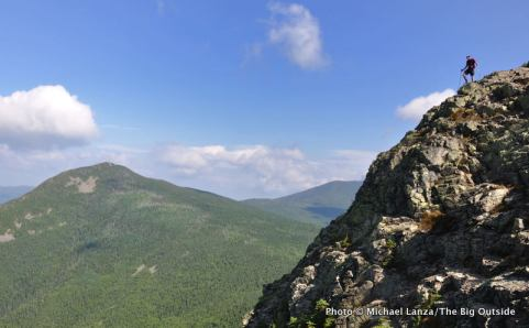 A hiker on Mount Flume during a dayhike of the 32-mile Pemi Loop, White Mountains, N.H.