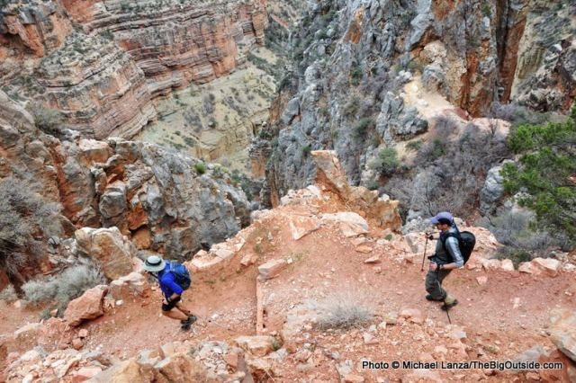 Descending the North Kaibab Trail on a 44.5-mile, rim-to-rim-to-rim hike of the Grand Canyon.