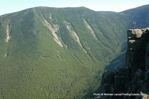 A hiker on Bondcliff during a dayhike of the 32-mile Pemi Loop, White Mountains, N.H.