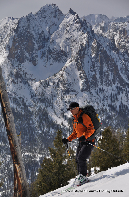 Skiing The Triangle on Mt. Heyburn, Sawtooth Mountains, Idaho.