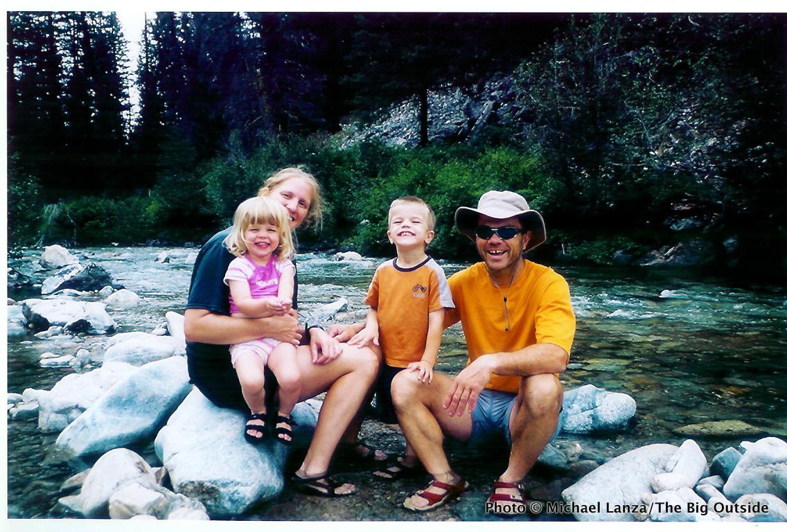 A young family at Skilern Hot Springs, Smoky Mountains, Idaho.