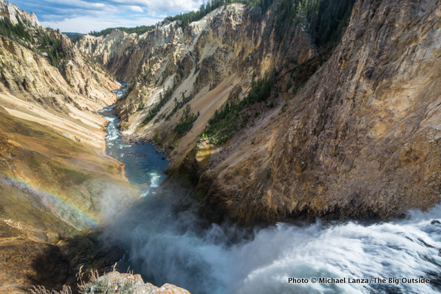 The brink of 308-foot-tall Lower Yellowstone Falls, Grand Canyon of the Yellowstone River.