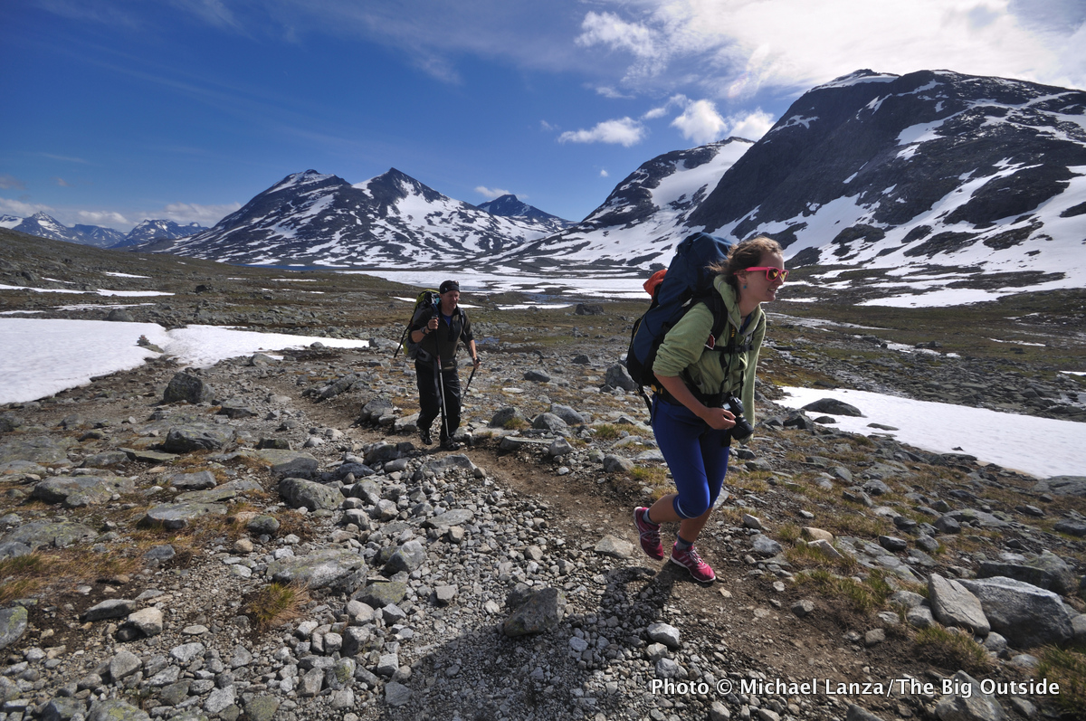 Trekkers hiking through Norway's Jotunheimen National Park.